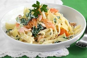 Collection of pasta with salmon recipes