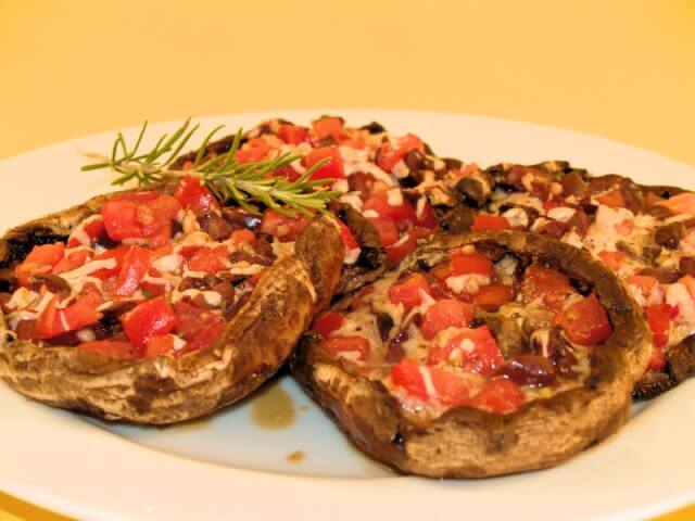 Tomato & Olive-Stuffed Portobello Caps Recipe | CDKitchen.com