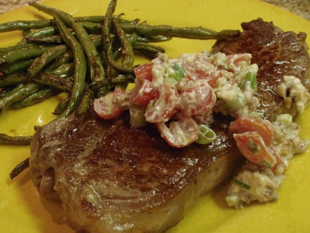 Grilled Steak With Tomato And Blue Cheese Salsa Recipe | CDKitchen.com