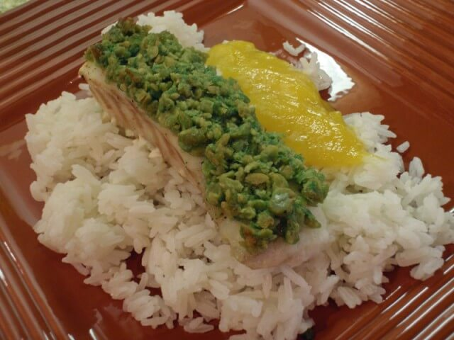 Wasabi pea crusted ono with mango coulis and coconut rice for Ono fish recipe