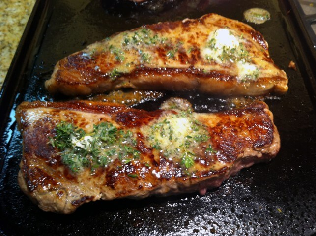 Grilled Steak With Lemon Thyme Butter Recipe Cdkitchen Com