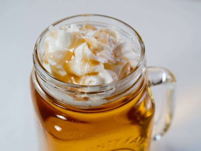 ... with apple juice, cinnamon syrup, whipped cream, and caramel syrup