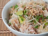How asian noodles with shrimp woman went