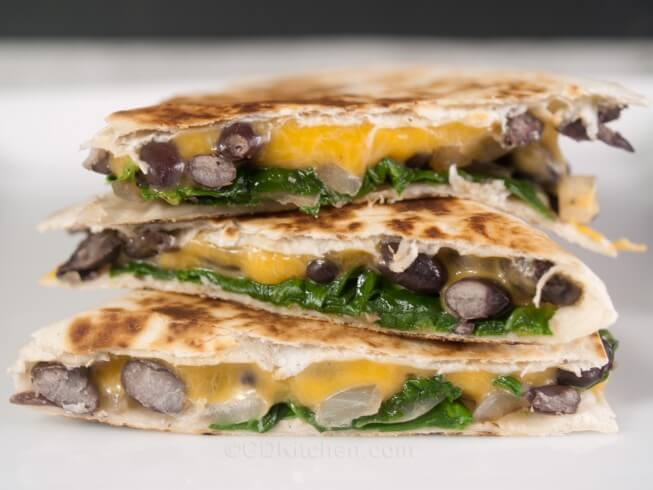 Delicious quesadillas made with fresh spinach, black beans, onion, and ...