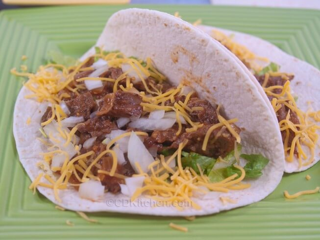 Crock Pot Smoky Shredded Sirloin Soft Tacos Recipe from CDKitchen
