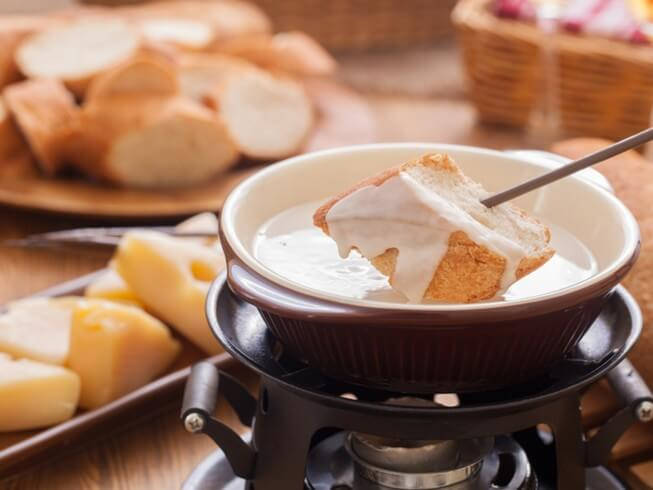 Gruyere and Brie Fondue Recipe | CDKitchen.com