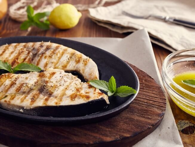 Grilled Swordfish with Lemon Juice, Olive Oil and Herbs Recipe ...