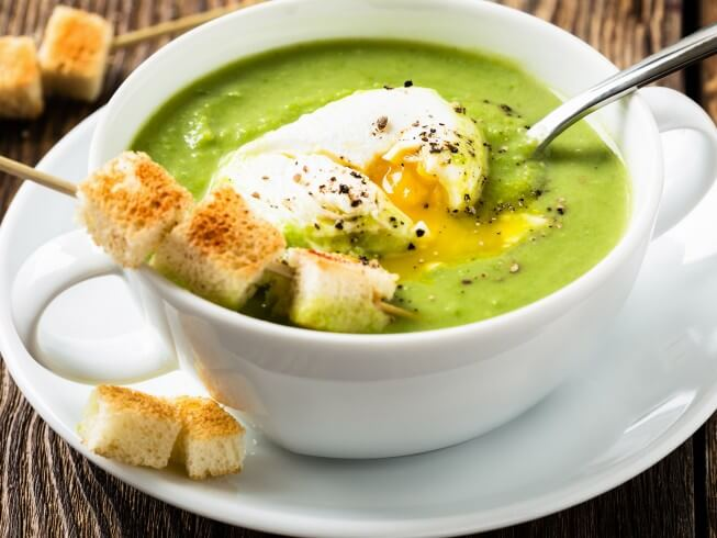 Creamy Asparagus Soup with Poached Egg Recipe | CDKitchen.com