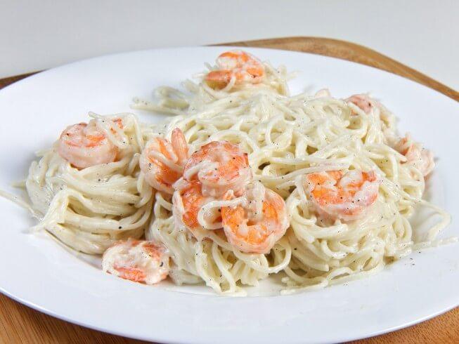 photo of Pasta With Shrimp In Lemon Cream Sauce