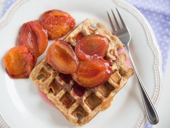 ... nutty burst of pecans, with the succulent topping of plums, deems this