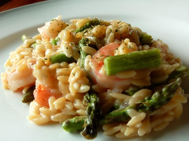 Pressure Cooker Shrimp And Asparagus Risotto Recipe | CDKitchen.com