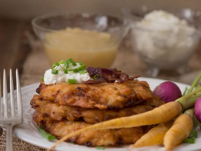 Potato And Carrot Latkes Recipe From Cdkitchen Com