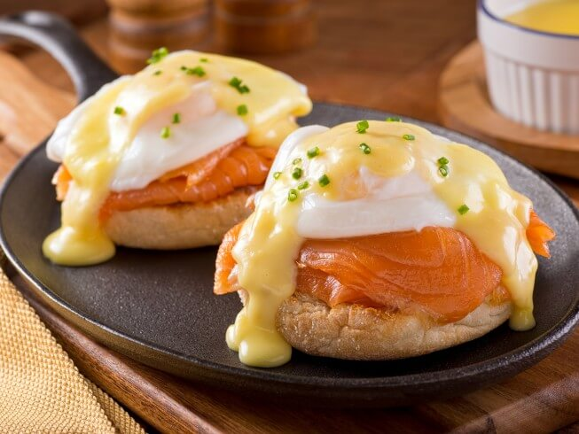 Copycat Recipe for Red Lobster's Eggs Benedict with Smoked Salmon from CDKitchen.com