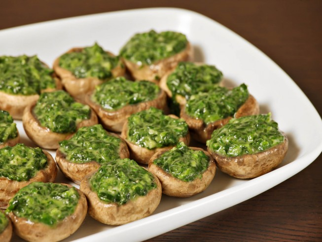 spinach souffle stuffed mushrooms recipe | cdkitchen