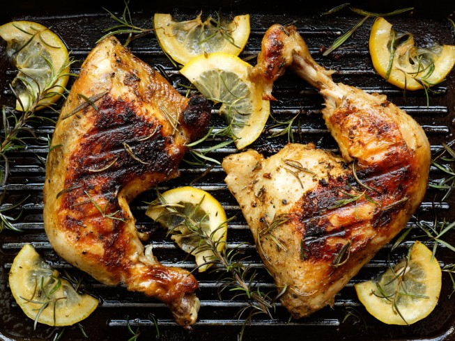 Marinated Grilled Chicken Quarters Recipe Cdkitchen Com