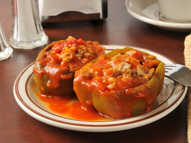 Microwave stuffed bell peppers recipe cdkitchen photo of microwave stuffed bell peppers forumfinder