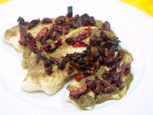 Tilapia with Pesto and Sun-Dried Tomatoes Recipe ...