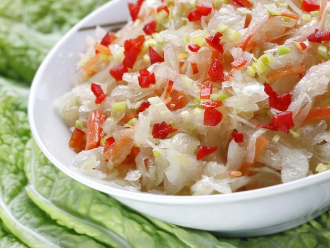 Amish Sauerkraut Salad Recipe Cdkitchen Com