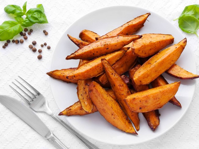 Roasted Sweet Potato Wedges Recipe Cdkitchen Com