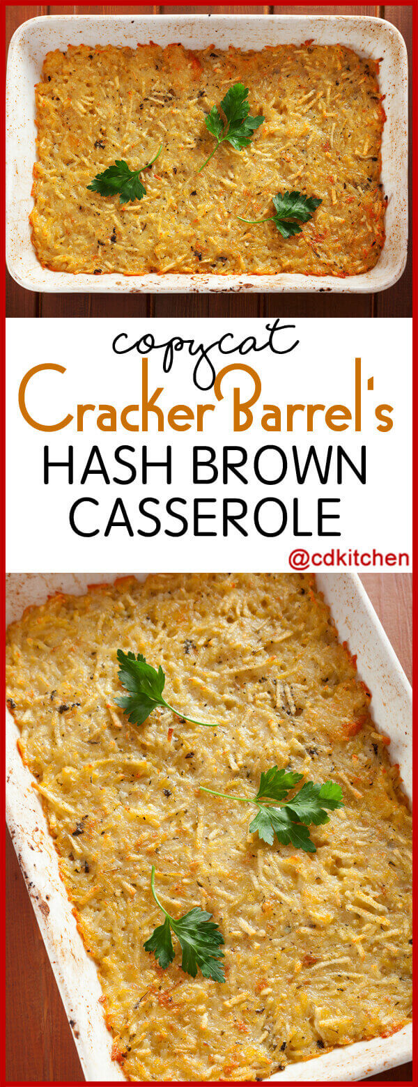 What is a recipe for Cracker Barrel hashbrown casserole?