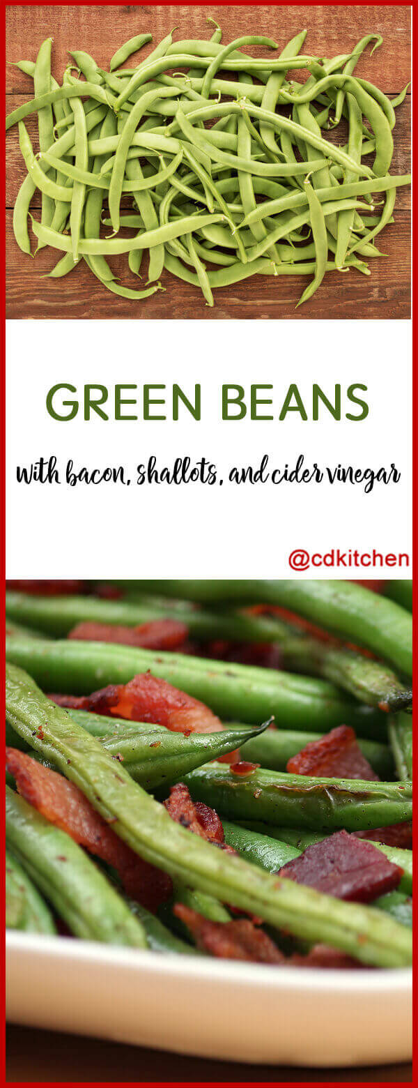 Fresh green beans are cooked in a seasoned broth mixture then given a ...