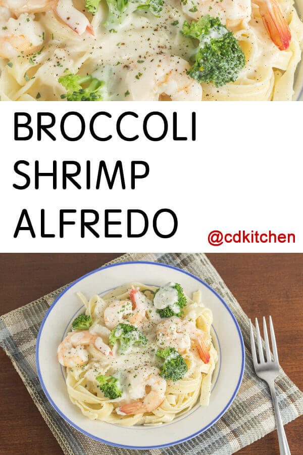 Shrimp and broccoli are smothered in a cream cheese Alfredo sauce and ...