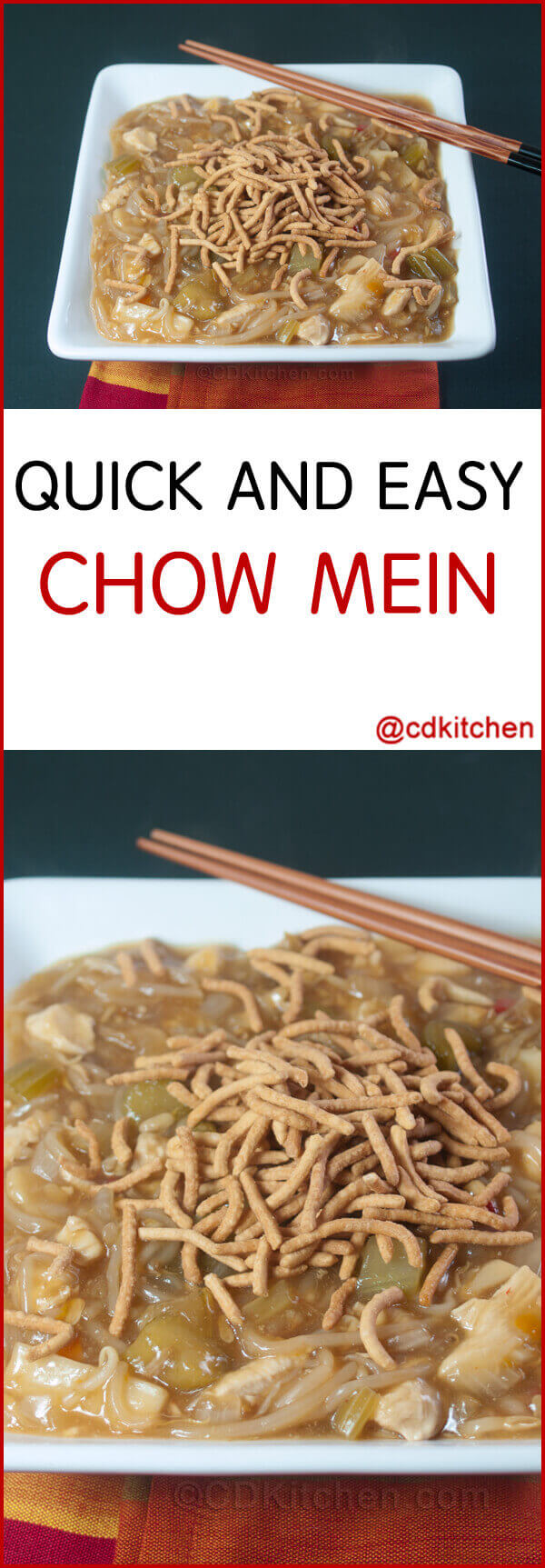 Quick And Easy Chow Mein Recipe Cdkitchen Com