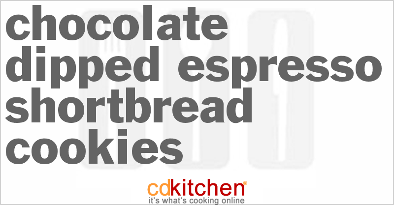 Chocolate-Dipped Espresso Shortbread Cookies Recipe | CDKitchen.com